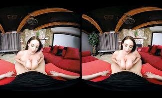 Angela White Caught Staring for Naughty America VR
