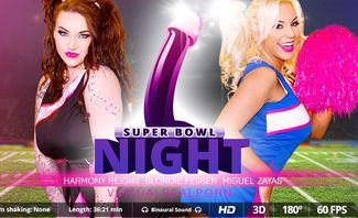 Harmony Reigns and Blondie Fesser Super Bowl Night for Virtual Real Porn