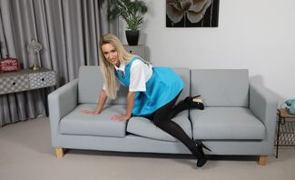 Lauren Louise Pantyhose and Shaved Pussy