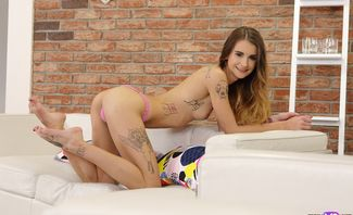 Cutie Rubs Pussy On Couch - Adelle